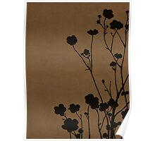 Buttercups in Brown & Gray Poster