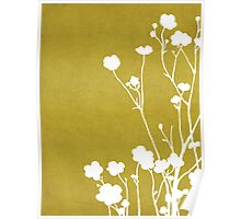 Buttercups in Mustard & White Poster