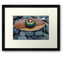 Colorful Mandala on stone /rock Framed Print