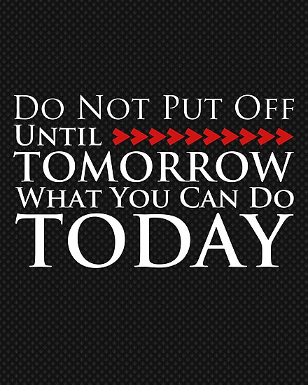 Do Not Put Off Until Tomorrow What You Can Do Today by Susan Tong