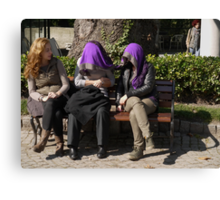 People in Istanbul - Sharing a shawl Canvas Print
