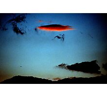 UFO over Sicily sky made by clouds. And Sphinx outline. Photographic Print