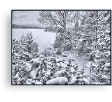 Abandoned and Forgotten - A Dilapidated Fishing Vessel Surrounded by Snowy Pine Trees near a Frozen Lake Canvas Print