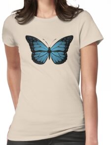 Blue Monarch Butterfly Womens Fitted T-Shirt