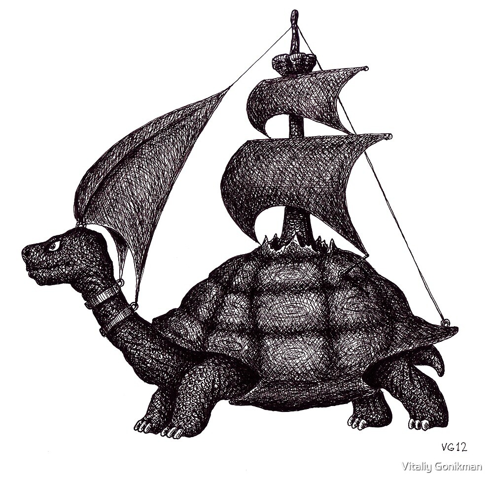 Sailing Turtle surreal black and white pen ink drawing by Vitaliy Gonikman