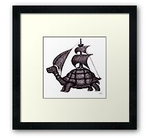 Sailing Turtle surreal black and white pen ink drawing Framed Print