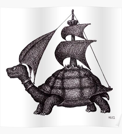 Sailing Turtle surreal black and white pen ink drawing Poster