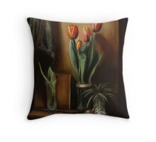 Classic Still Life with Tulips Throw Pillow