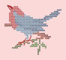 Dear Little Cross Stitch Bird Kids Tee