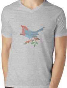 Dear Little Cross Stitch Bird Mens V-Neck T-Shirt
