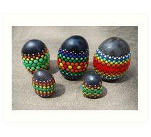 Mandala Designed easter eggs stone group Art Print