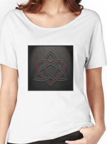 Celtic Knotwork Valentine Heart 01 - Leather Texture 01 TShirt Women's Relaxed Fit T-Shirt