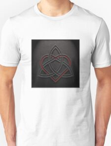 Celtic Knotwork Valentine Heart 01 - Leather Texture 01 TShirt T-Shirt