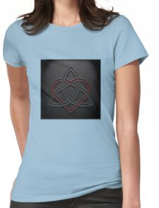 Celtic Knotwork Valentine Heart 01 - Leather Texture 01 TShirt Womens Fitted T-Shirt