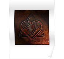 Celtic Knotwork Valentine Heart 01 - Rust Texture 01 Print Poster