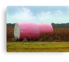 The Breast Cancer Awareness Cotton Bales Canvas Print