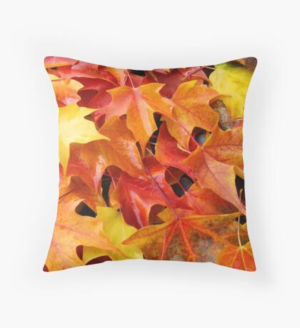 Fall Tree Leaves art prints Colorful Autumn Throw Pillow