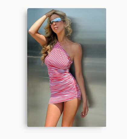 A blond woman standing in front of metallic door Metal Print