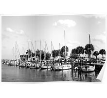 Fort Pierce Marina  (Black and White) Poster