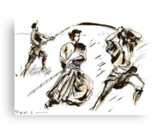The 7 Samurai A Sketch Canvas Print