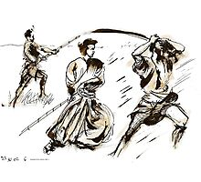 The 7 Samurai A Sketch Photographic Print