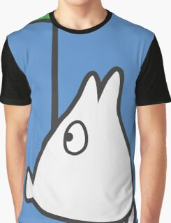 Small White Totoro with Leaf Graphic T-Shirt