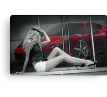 Attractive long leggy blond girl sitting in front of red Ferrari Canvas Print