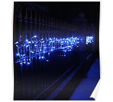 Blue Lights on a Fence Poster
