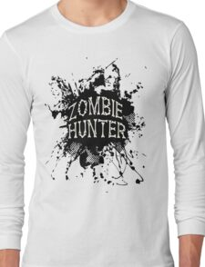 Zombie Hunter black grunge Long Sleeve T-Shirt