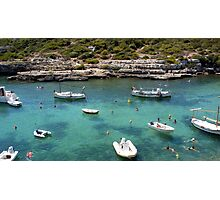 Menorcan Boats And Bathers Photographic Print