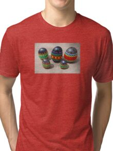 Mandala Designed easter eggs stone group Tri-blend T-Shirt