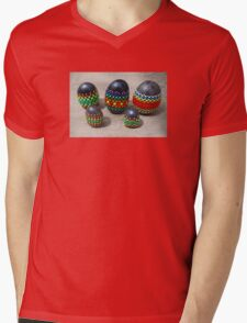 Mandala Designed easter eggs stone group Mens V-Neck T-Shirt