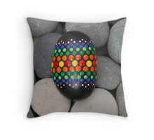 Mandala Designed easter eggs stone Throw Pillow