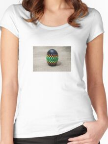 Mandala Designed easter eggs stone Women's Fitted Scoop T-Shirt