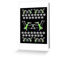 Dinosaur Pterodactyl Ugly Christmas Sweater Greeting Card