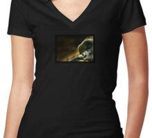 Young Gorilla Thinking Women's Fitted V-Neck T-Shirt