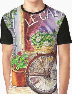 French Cafe And Bicycle With Basket Graphic T-Shirt