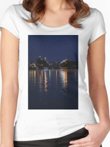 Lights on the Water at Night Women's Fitted Scoop T-Shirt