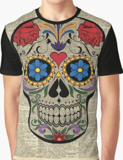 Happy Skull,Sugar Skull,Dia De Los Muertos,Halloween Artwork Graphic T-Shirt