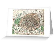 Vintage Map of Paris France (1872) Greeting Card