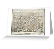 Vintage Pictorial Map of Pawtucket RI (1877) Greeting Card