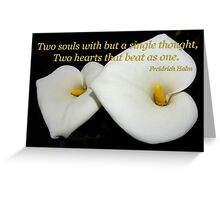 2 lilies 2 hearts card Greeting Card