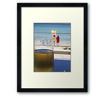 enjoyment - a cool one at the beach Framed Print