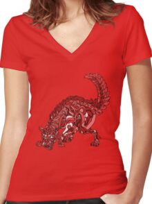 Red Wolf Women's Fitted V-Neck T-Shirt