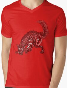 Red Wolf Mens V-Neck T-Shirt