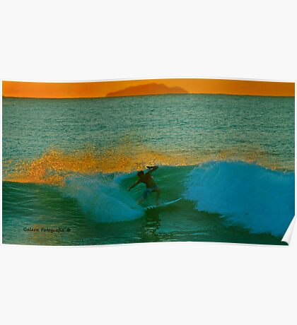 Surf on Sunset Poster