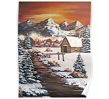 Winter Dawn in the Mountains - Acrylic Poster