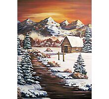 Winter Dawn in the Mountains - Acrylic Photographic Print