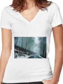 0233  Into a cold dark place   [e] Women's Fitted V-Neck T-Shirt