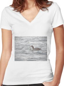 A Loon of Wisconsin Women's Fitted V-Neck T-Shirt